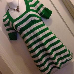 Green & White Stretch Dress by Self Esteem - S